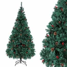 Homfa 180cm Künstlicher Weihnachtsbaum Tannenbaum Christbaum Weihnachten Dekoration mit Tannenzapfen und rote Beere Deko Grün 180x75x85cm - 1