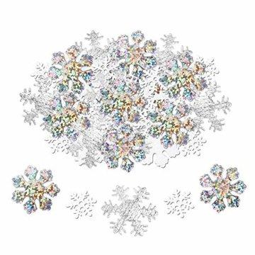 Howaf 300 Stück Schneeflocken Konfetti, Weihnachten Winter deko Schneeflocke Filz Tabelle Konfetti Tischdeko, Weihnachtsschmuck , Hochzeit, Geburtstag, Jahr, Weihnachts Dekorationen - 1