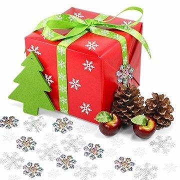 Howaf 300 Stück Schneeflocken Konfetti, Weihnachten Winter deko Schneeflocke Filz Tabelle Konfetti Tischdeko, Weihnachtsschmuck , Hochzeit, Geburtstag, Jahr, Weihnachts Dekorationen - 5