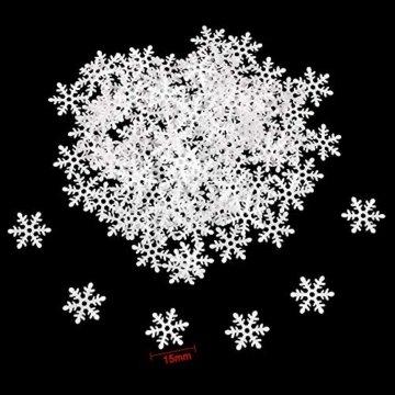 Howaf 300 Stück Schneeflocken Konfetti, Weihnachten Winter deko Schneeflocke Filz Tabelle Konfetti Tischdeko, Weihnachtsschmuck , Hochzeit, Geburtstag, Jahr, Weihnachts Dekorationen - 6