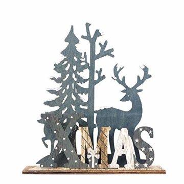 HROIJSL Weihnachten Deko Hölzerne Elchweihnachts Dekoration Weihnachten Weihnachtsmann aus Holz Elch Schneemann Festival Ornament Home Decor - 1
