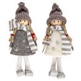 Ideen mit Herz Niedliche Winter-Püppchen | Weihnachtswichtel | Weihnachts-Deko | aus Holz, Filz und Strick | Winter-Kinder (Svenja | 14,5cm hoch | 2 Stück) - 1