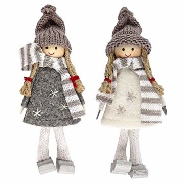 Ideen mit Herz Niedliche Winter-Püppchen   Weihnachtswichtel   Weihnachts-Deko   aus Holz, Filz und Strick   Winter-Kinder (Svenja   14,5cm hoch   2 Stück) - 1