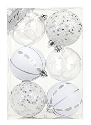 Inge-glas 81075G002MO Kunststoff-Kugelbox, 6 dekorierte Kugeln a 8cm, silber-weiß - 1