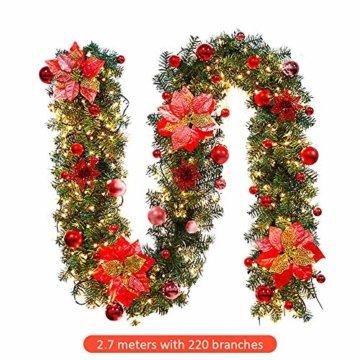 Inlaf Weihnachts Girlande, Weihnachtsgirlande mit LED Tannengirlande Tannenzweiggirlande Deko Lichterkette Treppe Christmas Decorations 2.7m (Rot) - 3