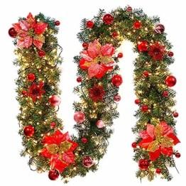 Inlaf Weihnachts Girlande, Weihnachtsgirlande mit LED Tannengirlande Tannenzweiggirlande Deko Lichterkette Treppe Christmas Decorations 2.7m (Rot) - 1