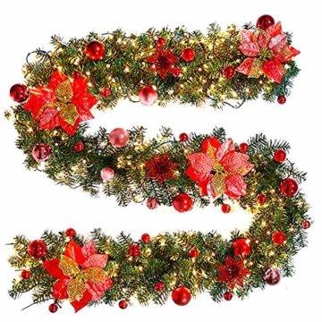 Inlaf Weihnachts Girlande, Weihnachtsgirlande mit LED Tannengirlande Tannenzweiggirlande Deko Lichterkette Treppe Christmas Decorations 2.7m (Rot) - 4