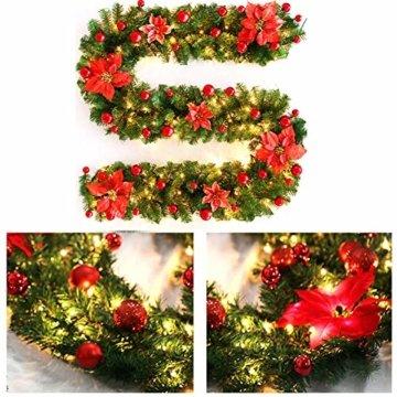 Inlaf Weihnachts Girlande, Weihnachtsgirlande mit LED Tannengirlande Tannenzweiggirlande Deko Lichterkette Treppe Christmas Decorations 2.7m (Rot) - 5