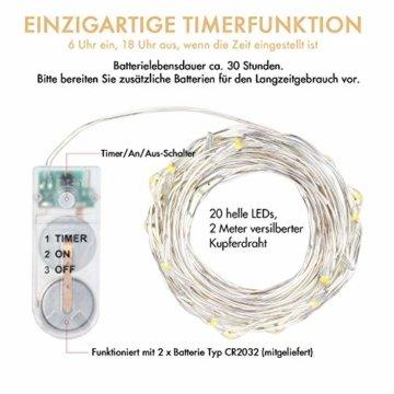 Innotree Aufgerüstet 9er-Pack Lichterketten mit Timer, Batterie Kupfer Drahtlichterkette 2M 20 LEDs Lichterketten Weihnachten Batteriebetrieben Wasserdichte Lichter Flasche Dekoration, Warmweiß - 4