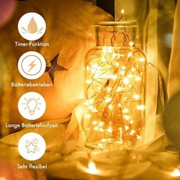 Innotree Aufgerüstet 9er-Pack Lichterketten mit Timer, Batterie Kupfer Drahtlichterkette 2M 20 LEDs Lichterketten Weihnachten Batteriebetrieben Wasserdichte Lichter Flasche Dekoration, Warmweiß - 5