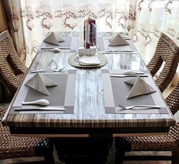 ISIYINER Tischset, Platzset 6er Set rutschfest Abwaschbar PVC Abgrifffeste Hitzebeständig Platzdeckchen für Zuhause Restaurant Speisetisch Silber - 2