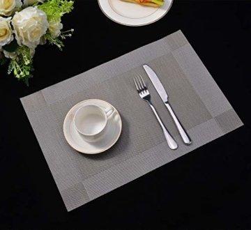 ISIYINER Tischset, Platzset 6er Set rutschfest Abwaschbar PVC Abgrifffeste Hitzebeständig Platzdeckchen für Zuhause Restaurant Speisetisch Silber - 4