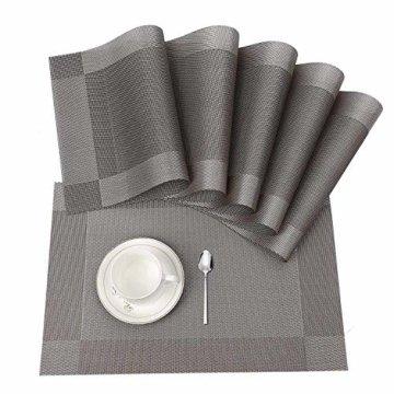 ISIYINER Tischset, Platzset 6er Set rutschfest Abwaschbar PVC Abgrifffeste Hitzebeständig Platzdeckchen für Zuhause Restaurant Speisetisch Silber - 1