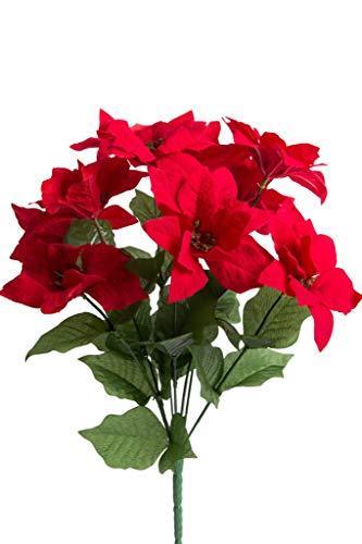 Jasaco künstlicher Poinsettienbusch (Weihnachtsstern) mit 9 Blüten, samtig Farbe: rot - 3