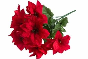 Jasaco künstlicher Poinsettienbusch (Weihnachtsstern) mit 9 Blüten, samtig Farbe: rot - 1