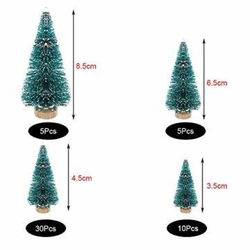 jenich 50Pcs Mini Künstlicher Weihnachtsbaum Christbaum Tannenbaum Grün Weihnachtsdeko Weihnachten Tischdeko DIY Basteln - 2