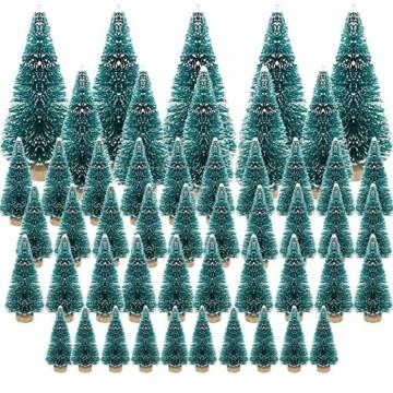 jenich 50Pcs Mini Künstlicher Weihnachtsbaum Christbaum Tannenbaum Grün Weihnachtsdeko Weihnachten Tischdeko DIY Basteln - 1