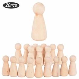 JNCH 20 STK Holzfiguren Mädchen Dekoration DIY Figuren Deko zum Basteln Holz Puppen Holzpuppen zum Bemalen Kegel Figurenkegel Holzkegel - 1