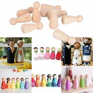 JNCH 20 STK Holzfiguren Mädchen Dekoration DIY Figuren Deko zum Basteln Holz Puppen Holzpuppen zum Bemalen Kegel Figurenkegel Holzkegel - 4