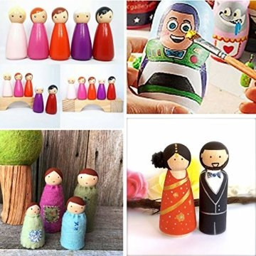 JNCH 20 STK Holzfiguren Mädchen Dekoration DIY Figuren Deko zum Basteln Holz Puppen Holzpuppen zum Bemalen Kegel Figurenkegel Holzkegel - 6