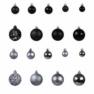 Julido 100-Teiliges Weihnachtskugel Weihnachtskugel Christbaumkugel Christbaumschmuck Baumschmuck Set in Silber/Anthrazit - 4