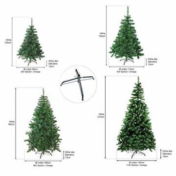 Julido Weihnachtsbaum Kunstbaum künstlicher Baum Tannenbaum Dekobaum Christbaum Grün mit Ständer 150cm 500 Spitzen - 3