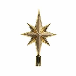 KAE Baumspitze Stern Glitter 25cm Kunststoff (Gold) bruchfest // Christbaumschmuck Weihnachtsdeko Christbaumspitze Weihnachtsbaumspitze Baumspitze Tannenbaumspitze - 1