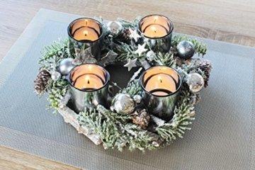 Kamaca Adventskranz aus massiven Holzzweigen mit Deko wie Tannenzweigen und Glas Kerzenhaltern inklusive 4 LED Teelichter Advent Weihnachten (grün braun) - 3