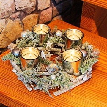 Kamaca Adventskranz aus massiven Holzzweigen mit Deko wie Tannenzweigen und Glas Kerzenhaltern inklusive 4 LED Teelichter Advent Weihnachten (grün braun) - 4