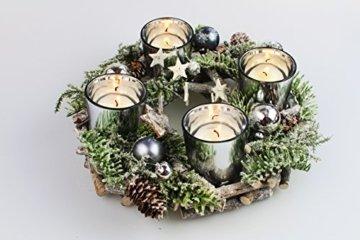 Kamaca Adventskranz aus massiven Holzzweigen mit Deko wie Tannenzweigen und Glas Kerzenhaltern inklusive 4 LED Teelichter Advent Weihnachten (grün braun) - 5