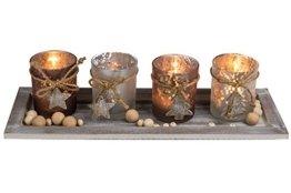 Kamaca XL Holzteller mit LED Kerzen und Dekoration - Set aus 4 Glas Kerzenhaltern und 4 LED Teelichtern Winter Advent Weihnachten (40 x 15 x 15 cm) - 1
