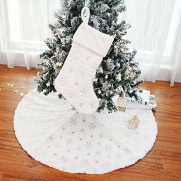 Kappha Weißer Plüsch Weihnachtsbaum Rock Christbaumdecke Rund Weiß Weihnachtsbaumdecke Christbaumständer Teppich Decke Weihnachtsbaum Deko, 122 cm - 3