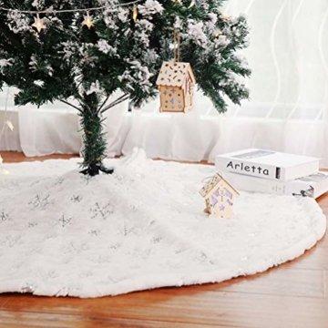 Kappha Weißer Plüsch Weihnachtsbaum Rock Christbaumdecke Rund Weiß Weihnachtsbaumdecke Christbaumständer Teppich Decke Weihnachtsbaum Deko, 122 cm - 6