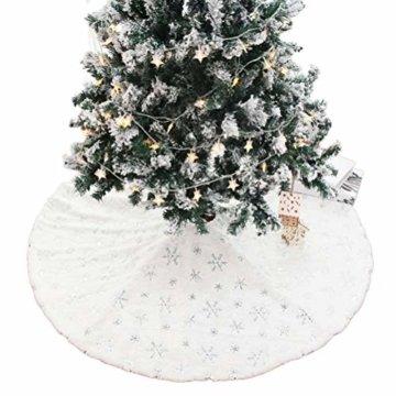 Kappha Weißer Plüsch Weihnachtsbaum Rock Christbaumdecke Rund Weiß Weihnachtsbaumdecke Christbaumständer Teppich Decke Weihnachtsbaum Deko, 122 cm - 8