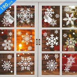 KATELUO 190 Schneeflocken Fensterbild,Fensterbilder Weihnachten, Schneeflocken Aufkleber Statisch Fensterbilder,für Weihnachts-Fenster Dekoration,Schaufenster, Vitrinen, Glasfronten - 1
