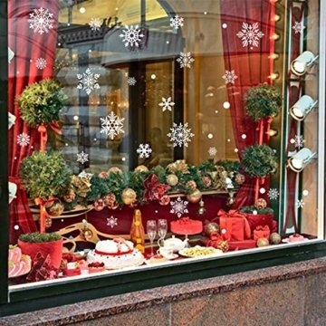 KATELUO 190 Schneeflocken Fensterbild,Fensterbilder Weihnachten, Schneeflocken Aufkleber Statisch Fensterbilder,für Weihnachts-Fenster Dekoration,Schaufenster, Vitrinen, Glasfronten - 4