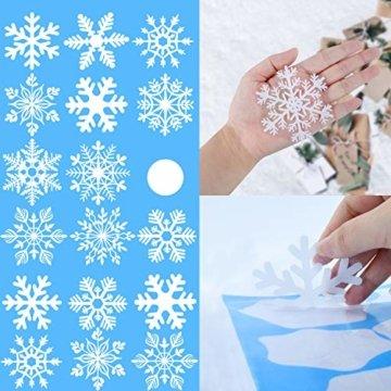 KATELUO 190 Schneeflocken Fensterbild,Fensterbilder Weihnachten, Schneeflocken Aufkleber Statisch Fensterbilder,für Weihnachts-Fenster Dekoration,Schaufenster, Vitrinen, Glasfronten - 5