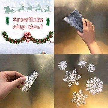 KATELUO 190 Schneeflocken Fensterbild,Fensterbilder Weihnachten, Schneeflocken Aufkleber Statisch Fensterbilder,für Weihnachts-Fenster Dekoration,Schaufenster, Vitrinen, Glasfronten - 6