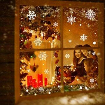KATELUO 190 Schneeflocken Fensterbild,Fensterbilder Weihnachten, Schneeflocken Aufkleber Statisch Fensterbilder,für Weihnachts-Fenster Dekoration,Schaufenster, Vitrinen, Glasfronten - 7