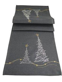 khevga Tischläufer Weihnachten modern in Grau mit Stickerei (Grau_Baum) - 1
