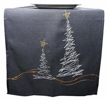 khevga Tischläufer Weihnachten modern in Grau mit Stickerei (Grau_Baum) - 3