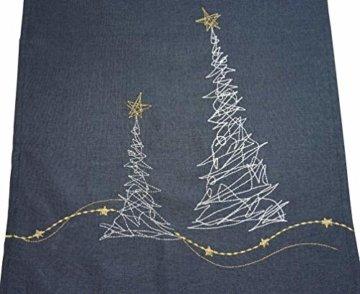 khevga Tischläufer Weihnachten modern in Grau mit Stickerei (Grau_Baum) - 4