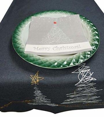 khevga Tischläufer Weihnachten modern in Grau mit Stickerei (Grau_Baum) - 5
