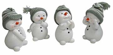 khevga Weihnachtsdeko Deko-Figuren Schneemann im 4er Maße ca. 6x6x11 cm - 5