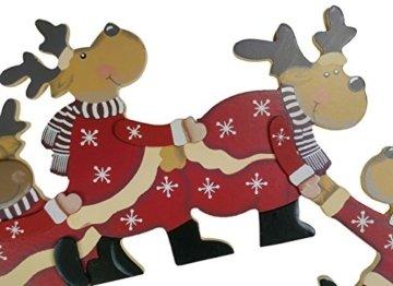 khevga Weihnachtsdeko Purzelnde Elche für Türrahmen-Deko aus Holz (Purzelnde Elche) - 3