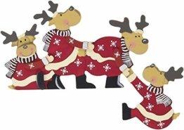 khevga Weihnachtsdeko Purzelnde Elche für Türrahmen-Deko aus Holz (Purzelnde Elche) - 1