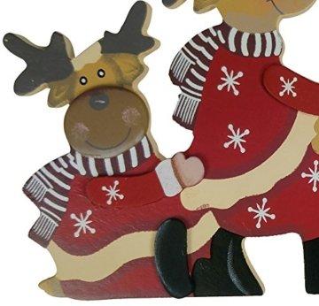 khevga Weihnachtsdeko Purzelnde Elche für Türrahmen-Deko aus Holz (Purzelnde Elche) - 6