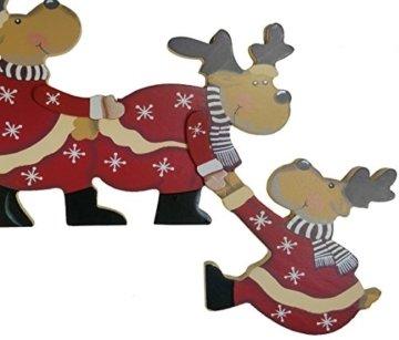 khevga Weihnachtsdeko Purzelnde Elche für Türrahmen-Deko aus Holz (Purzelnde Elche) - 8