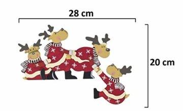 khevga Weihnachtsdeko Purzelnde Elche für Türrahmen-Deko aus Holz (Purzelnde Elche) - 9