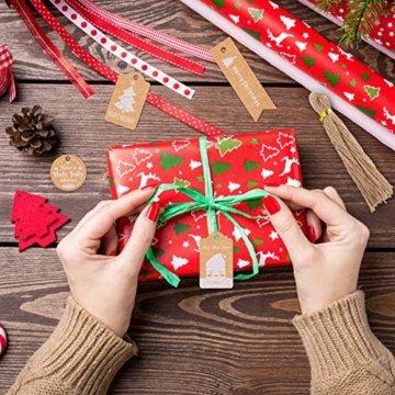 Kiiwah 200 Stück Weihnachten Kraftpapier Etiketten Weihnachts Geschenkanhänger Anhänger Etiketten - 2